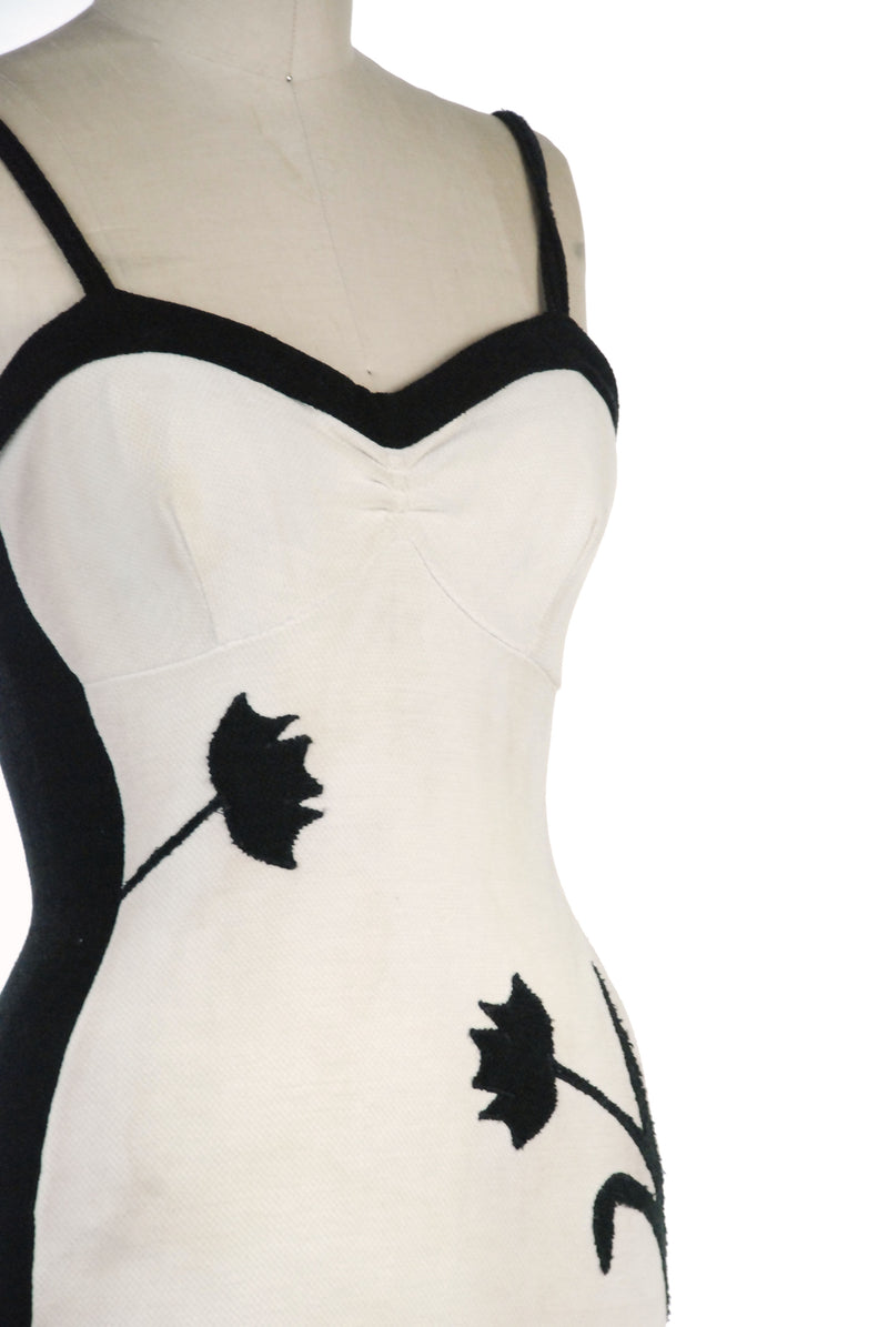 Killer 1930s Black and White Knit Bathing Suit with Floral Silhouettes