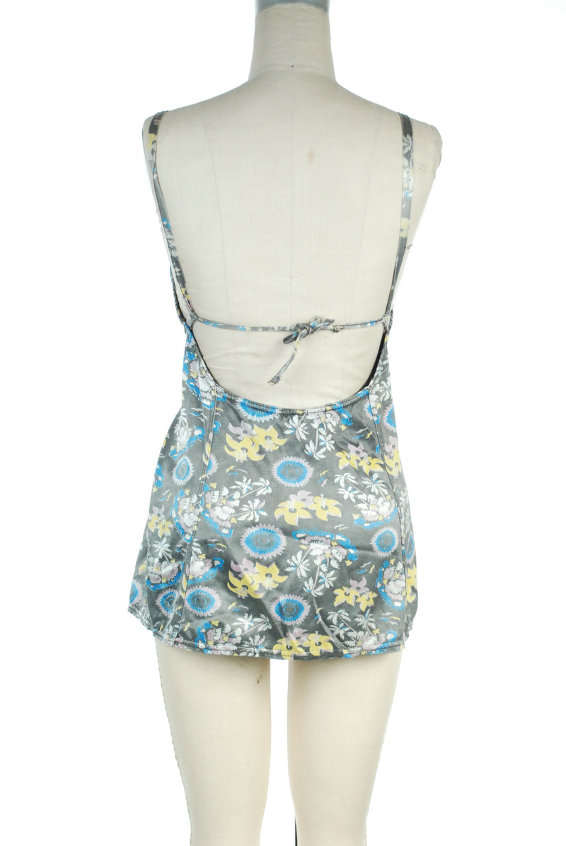 Tropical Late 1930s Swimsuit in Satin Lastex with Novelty Print Palm Trees and Islands