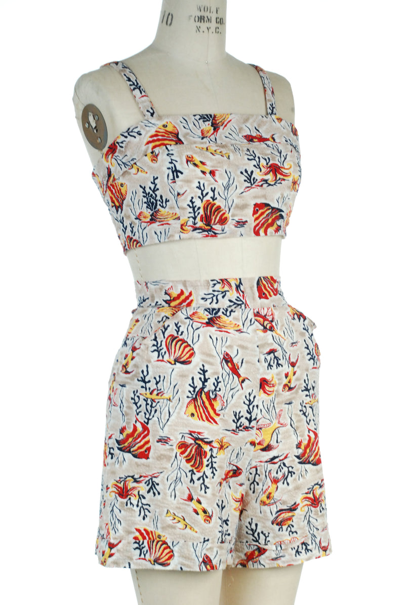 Killer 1940s Two Piece Playsuit in Cotton Seersucker with Novelty Angel Fish Print