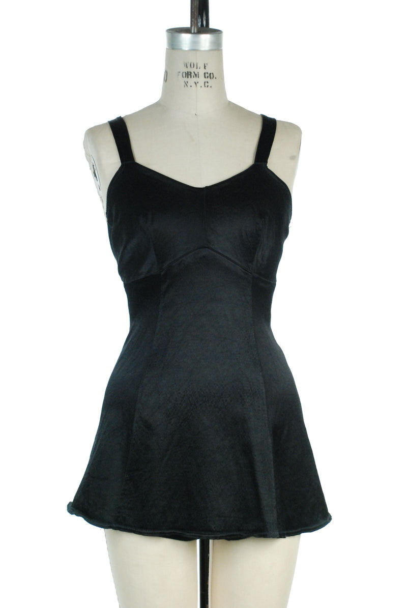 Gorgeous Late 1930s Satin Lastex Bathing Suit in Jet Black