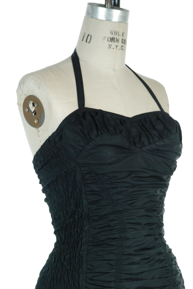 Bombshell 1950s Jantzen Swimsuit Fully Ruched in Black Strapless with Optional Halter
