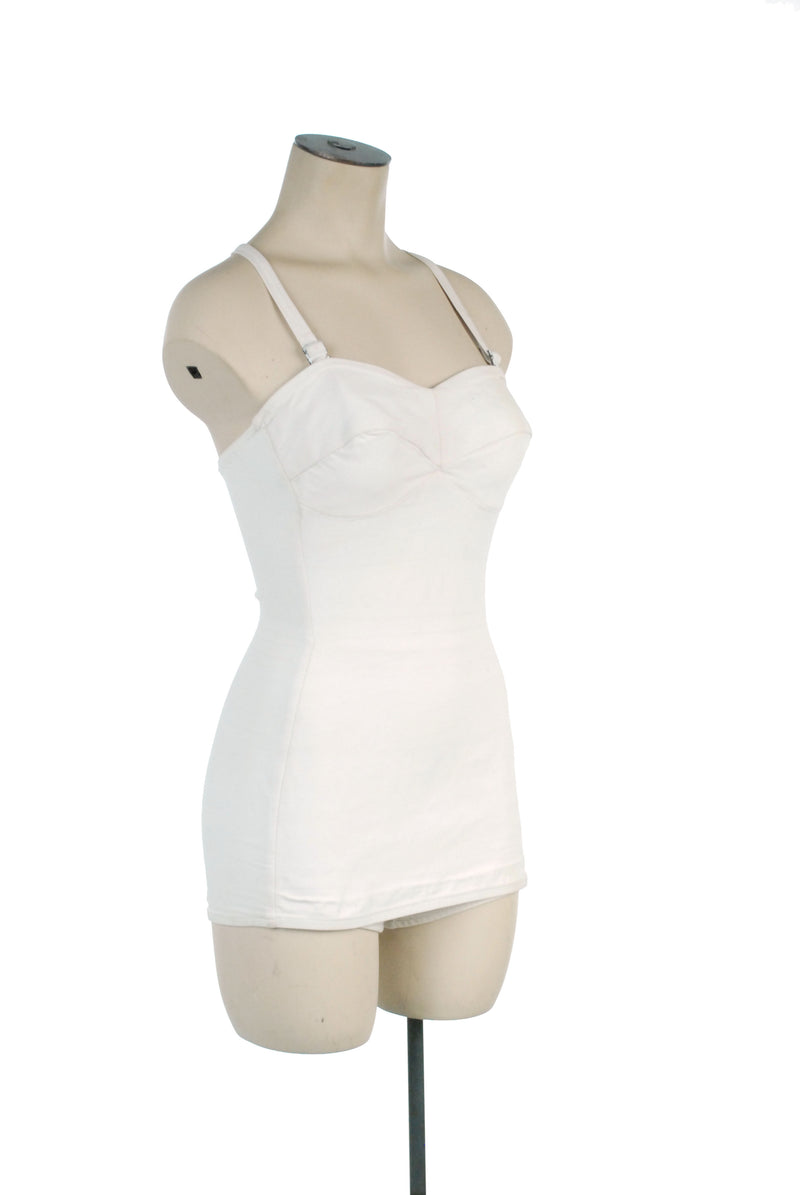 Iconic Solid White 1950s Jantzen Maillot Bathing Suit Pin Up Perfect