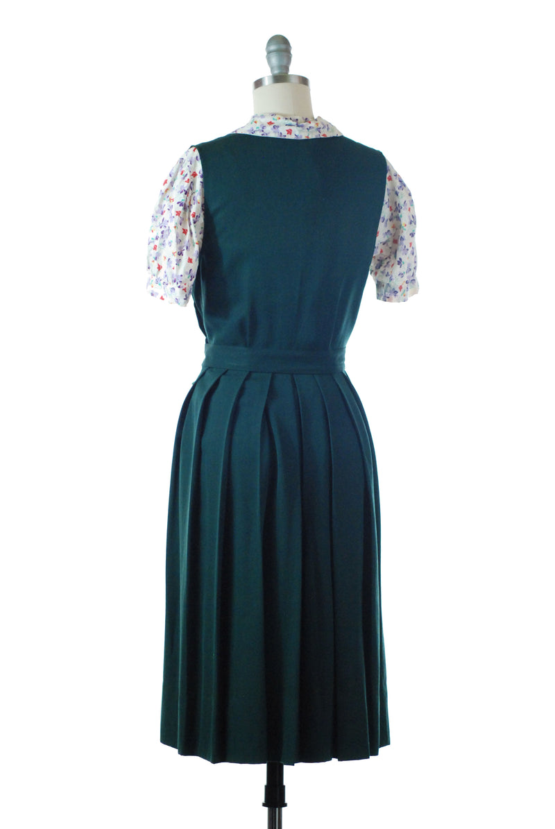 Smart 1940s Pinafore Style Jumper Dress in Forest Green with Pleated Skirt
