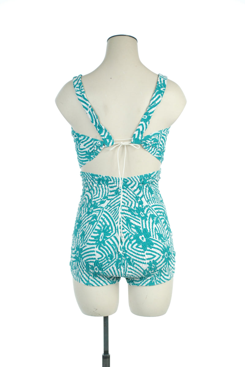 Rare Late 1930s Martin White Telescopic Swimsuit in Teal Green and White Horrockses Cotton