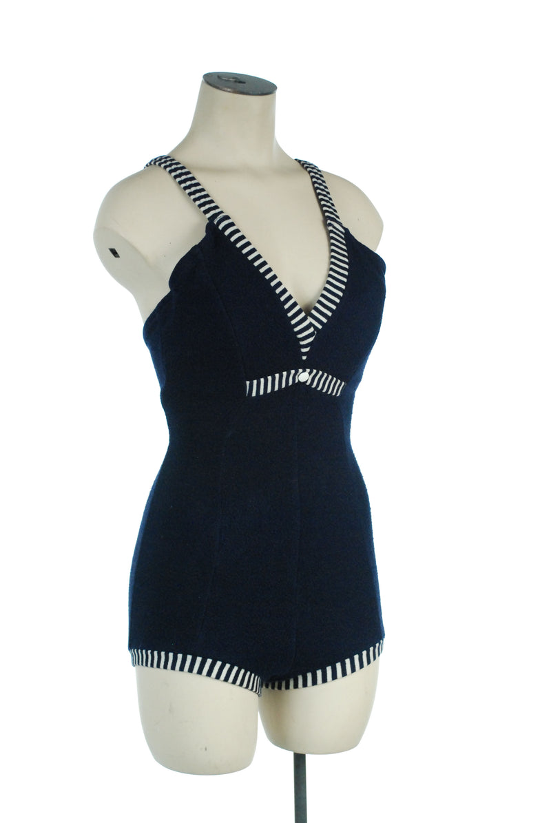 Cute 1960s Navy Knit Bathing Suit with Blue and White Striped Trim