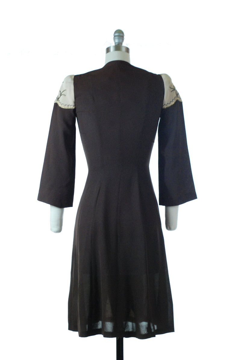 RESERVED on LAYAWAY Exquisite Late 1930s Two Tone Colorblock Day Dress with Soutache and Metallic Trim