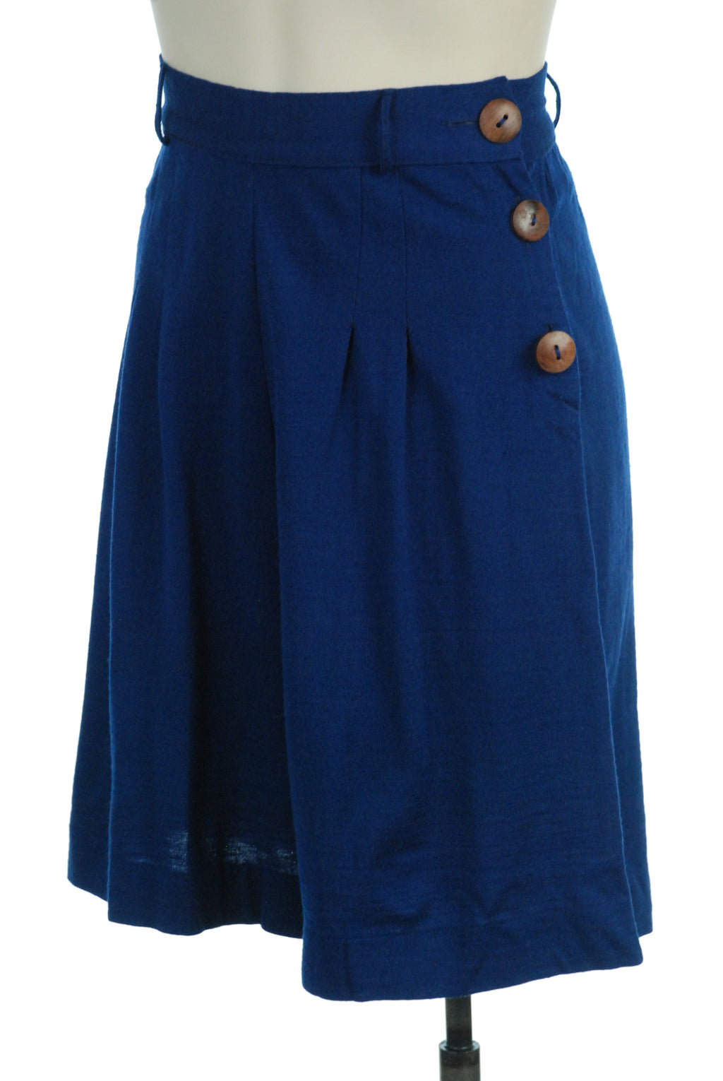 Fantastic 1930s NRA Tag Shorts in Blue Wool Jersey with Wooden Buttons