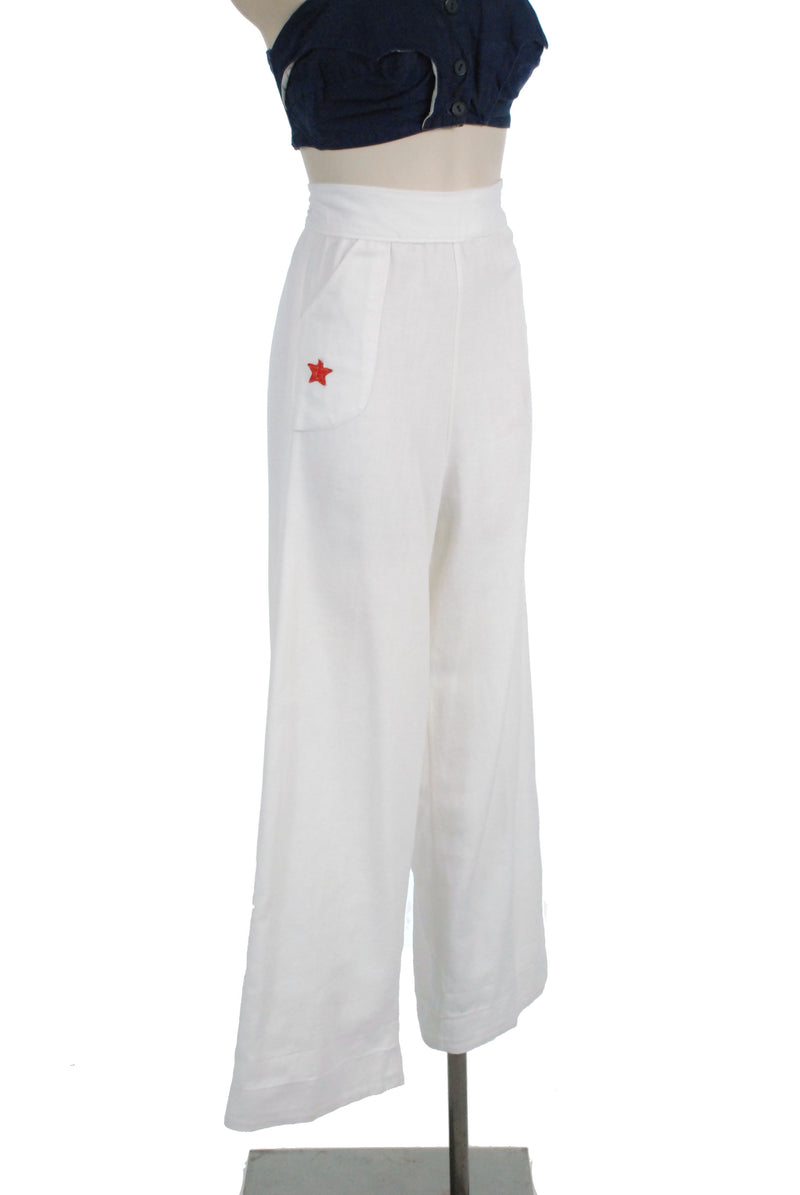 Rare 1940s Sturdy Cotton Nautical Sailor Pants with Red Stars