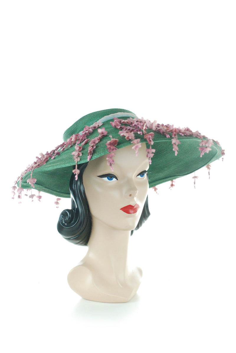 RESERVED ON LAYAWAY 1950s Wide Brimmed Hat in Green Straw with Dangling Wisteria Blossoms by Archie Eason