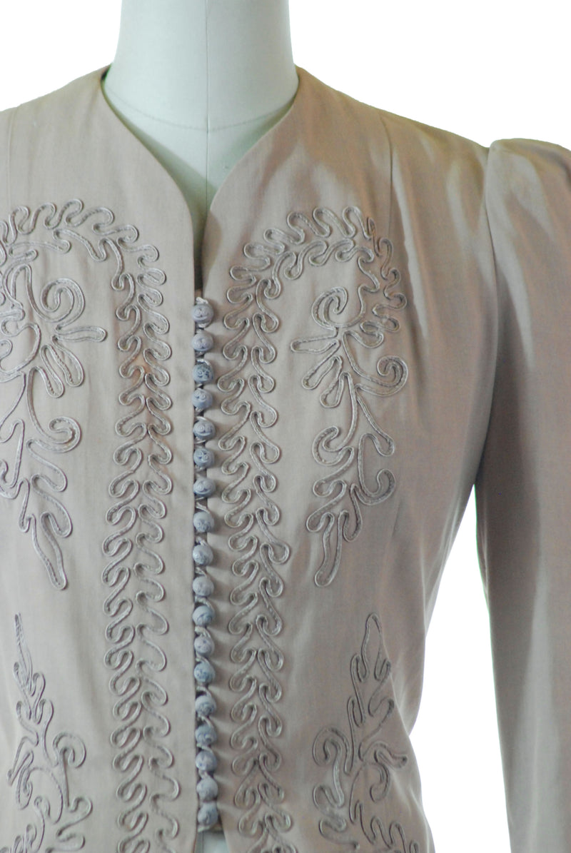 Elegant Early 1940s Rosy Beige Soutache Jacket in Crisp Silk and Wool