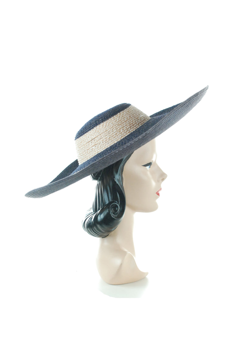 Gorgeous 1950s Striped Navy and Natural Striped Sunhat Made in Italy