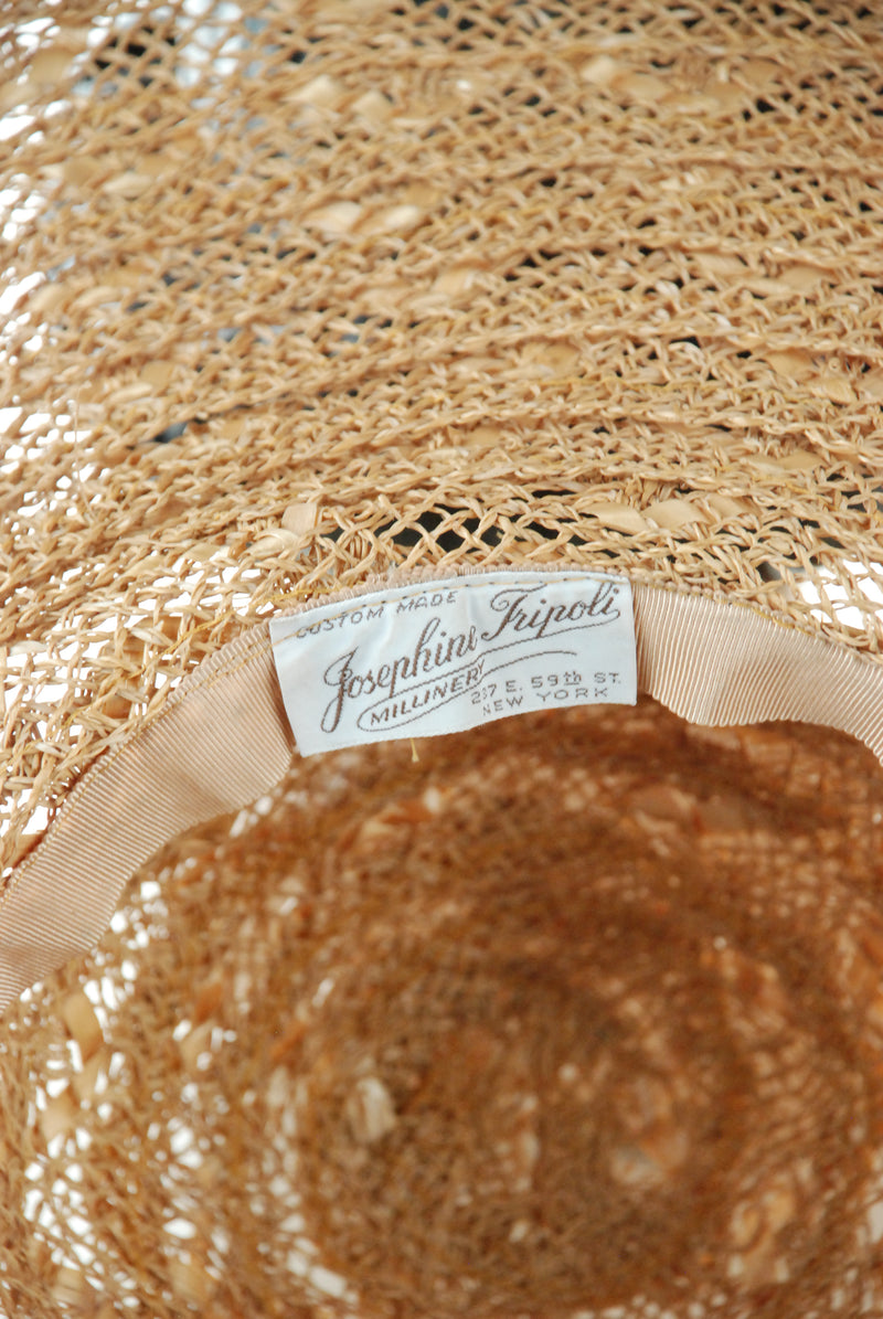 RESERVED ON LAYAWAY Incredible Custom Made 1940s Huge Wide Brim Summer Beach Sun Hat by Josephine Tripoli