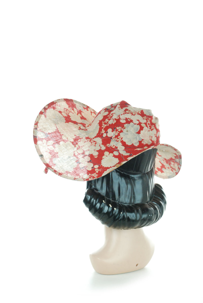 "Rare 1920s ""Crushable"" Cotton Sunhat in Lightweight Cotton with Chinese Floral"