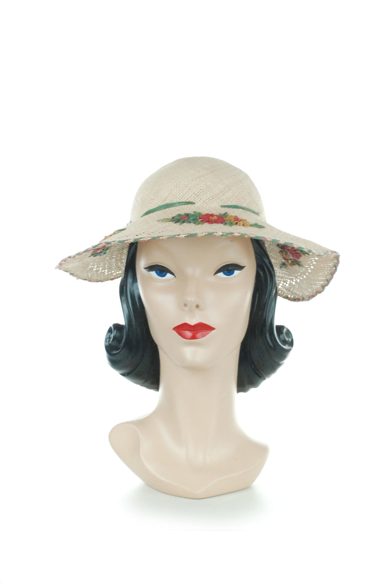 Charming Late 30s or Early 40s Straw Sunhat with Raffia Flowers and Trim