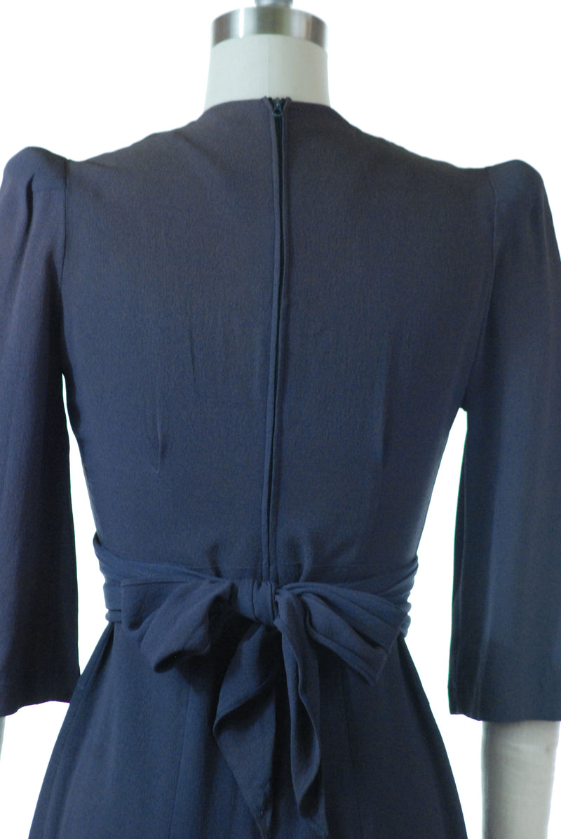 Chic Late 1930s Dark Periwinkle Blue Day Dress with Elegant Soutache and Self-Fabric Sash