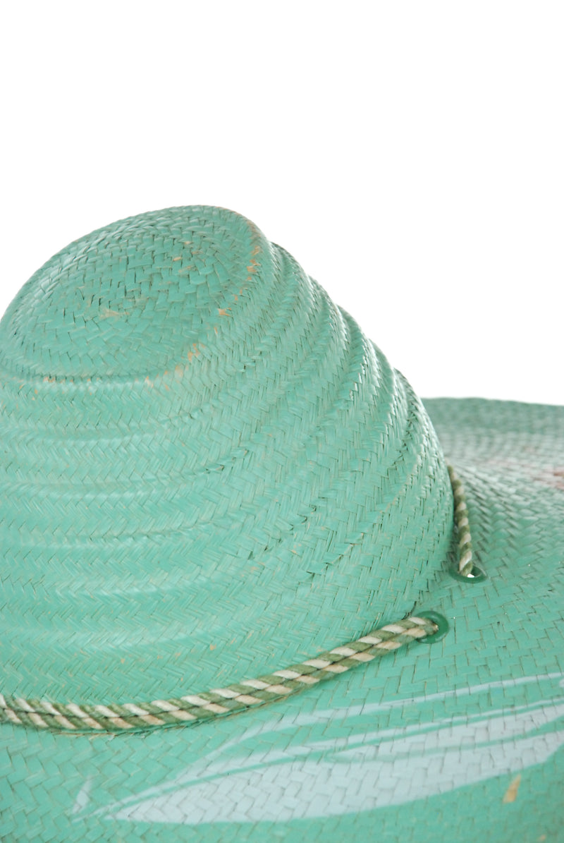 Gorgeous 1940s Novelty Painted Woven Straw Sunhat with Peaked Crown