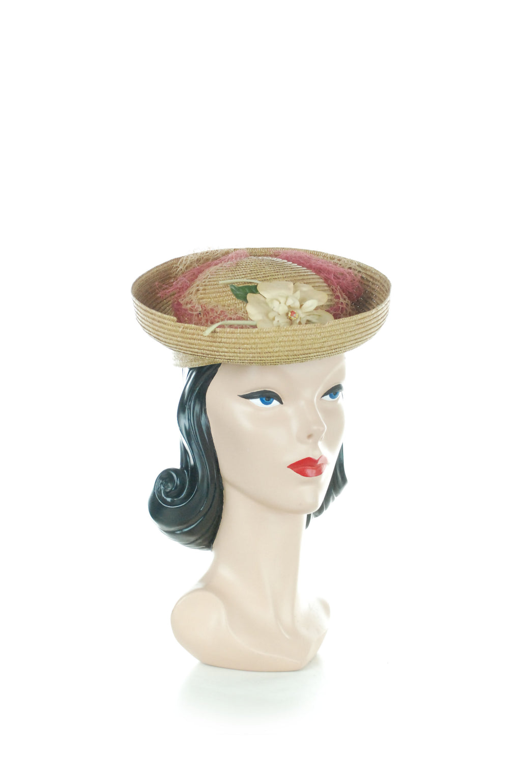 Lovely Chartreuse 1940s Straw Tilt with Upturned Brim, Pink Veiling and Millinery Flowers