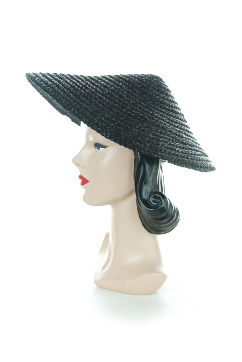 RARE Late 40s Jet Black Conical Shaped Peaked Sunhat in Glossy Straw