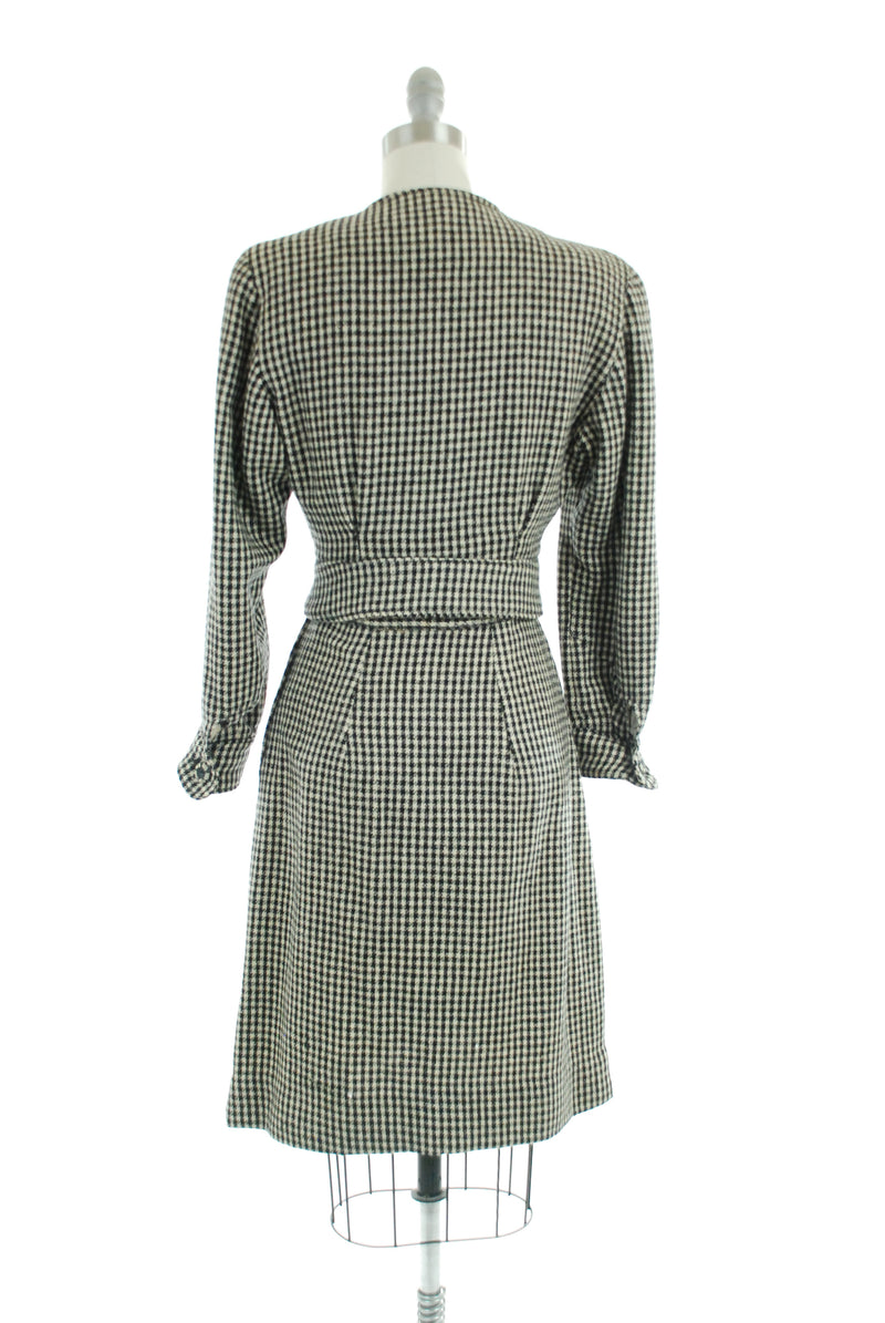 Smartly Tailored 1940s Suit in Black and White Check with Cropped Jacket