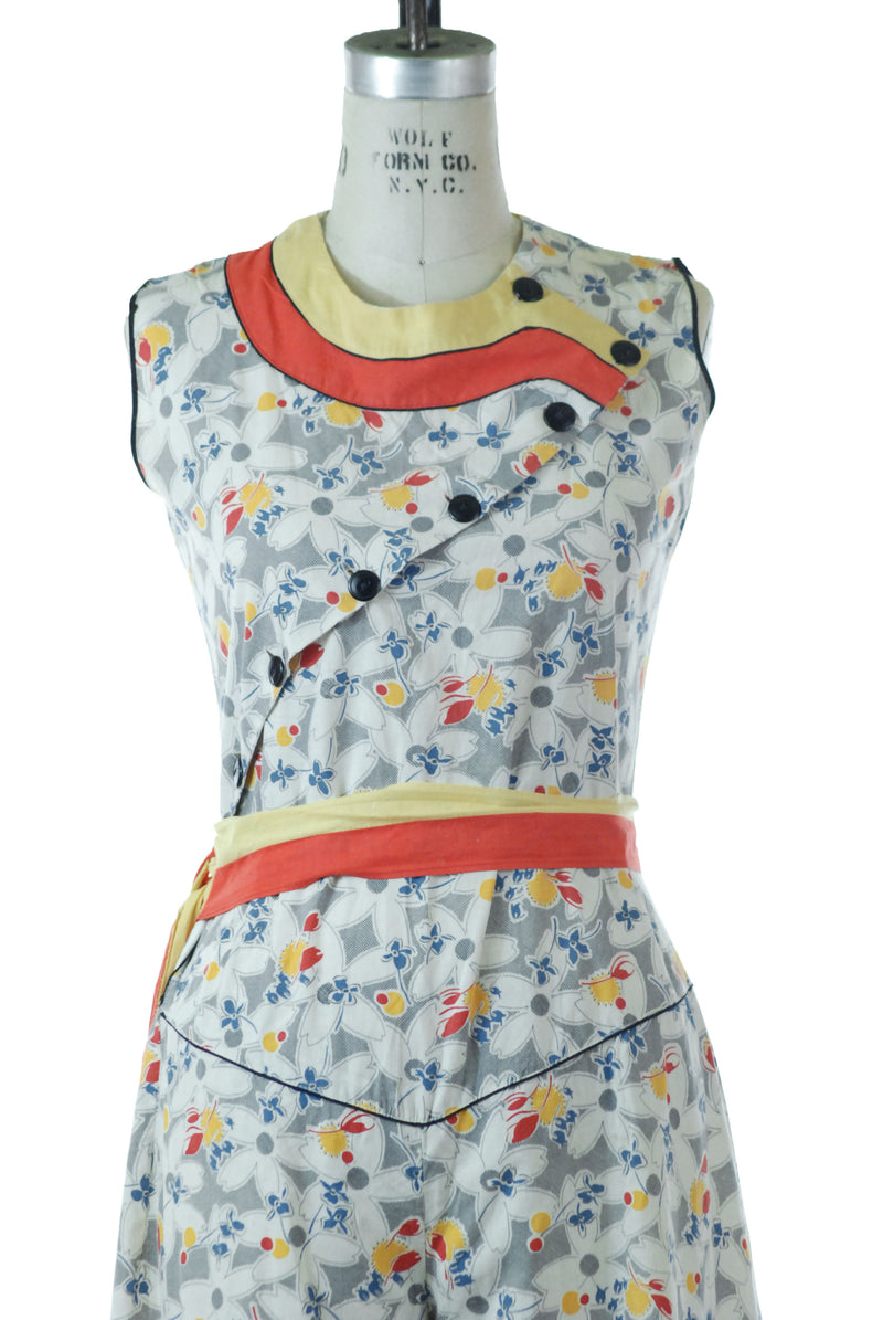 Rare Late 1920s/Early 1930s Cotton Feedsack Jumpsuit in Deco Era Floral With Orange and Yellow Trim, Wide Legs
