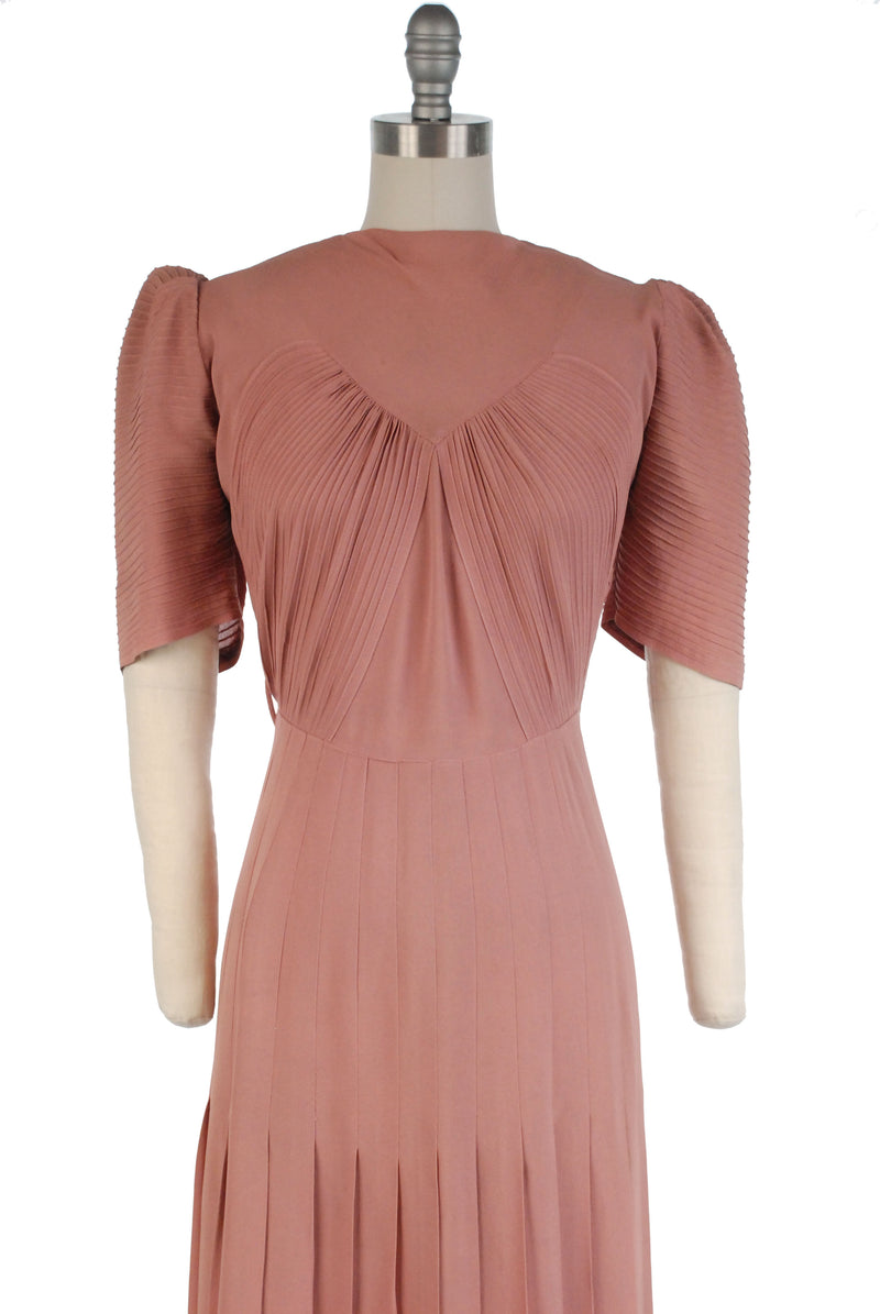 Rare Late 1930s Puffed Sleeve Rayon Day Dress in Rose Pink with Pintucked Details