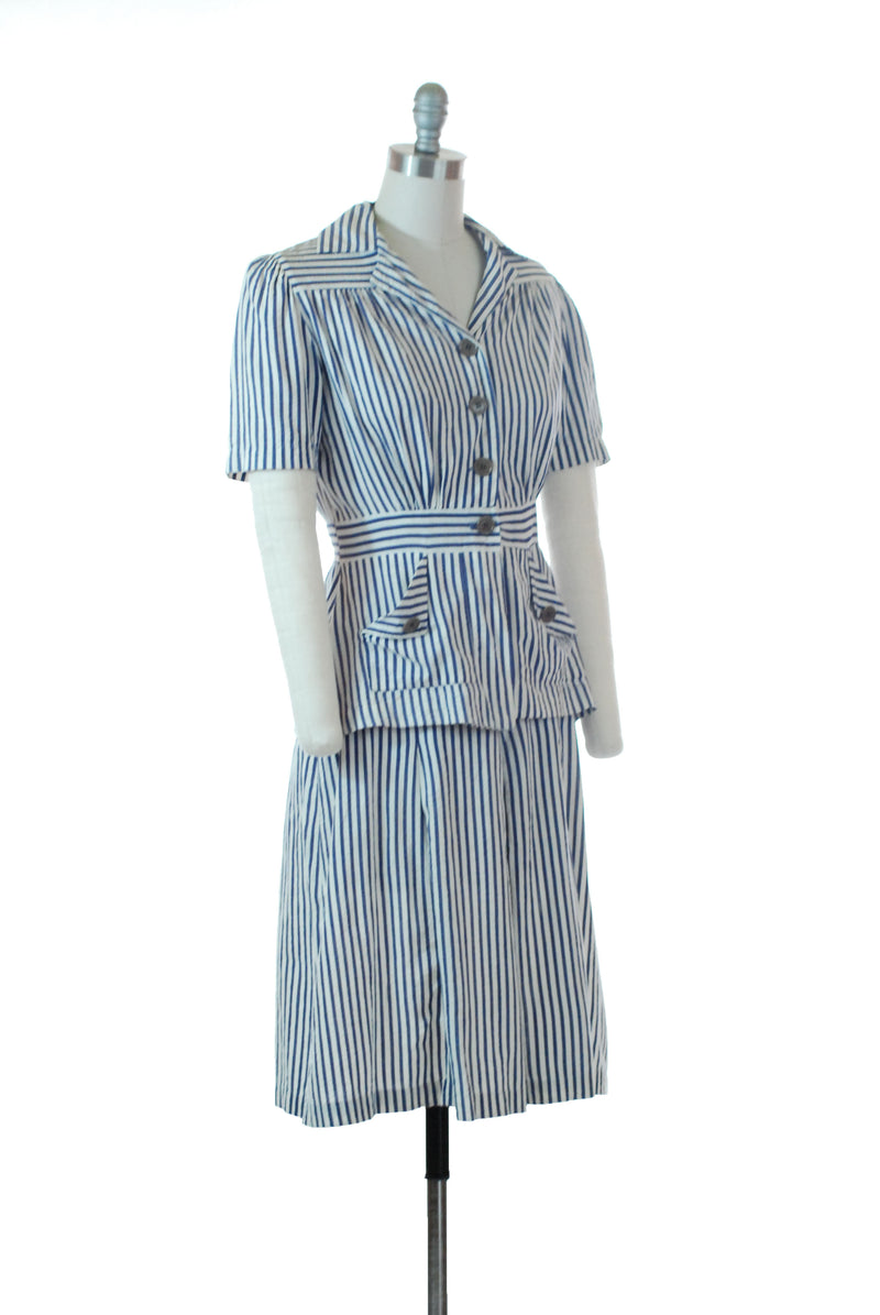 Smart 1940s Navy Blue and White Seersucker Summer Ensemble with Skirt and Belted Back Jacket