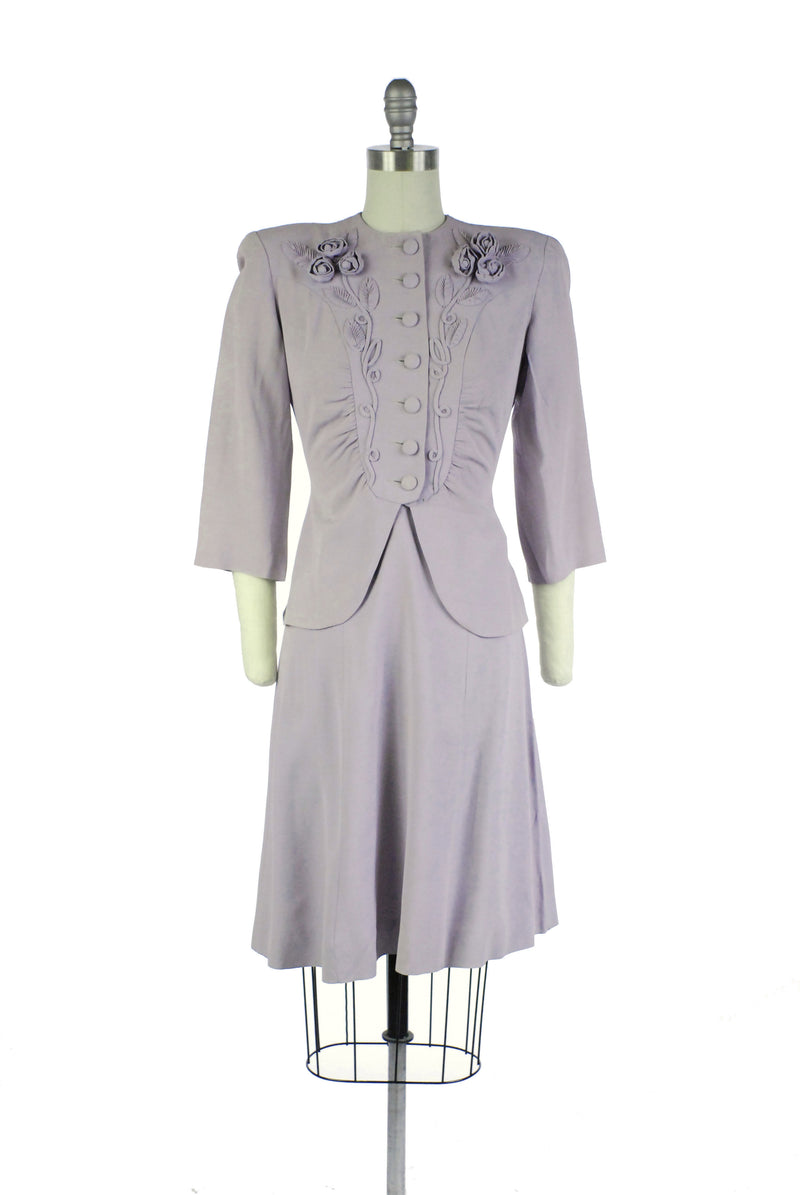 Stunning Late 1930s Suit in Pale Lavender with Three Dimensional Rose Appliques