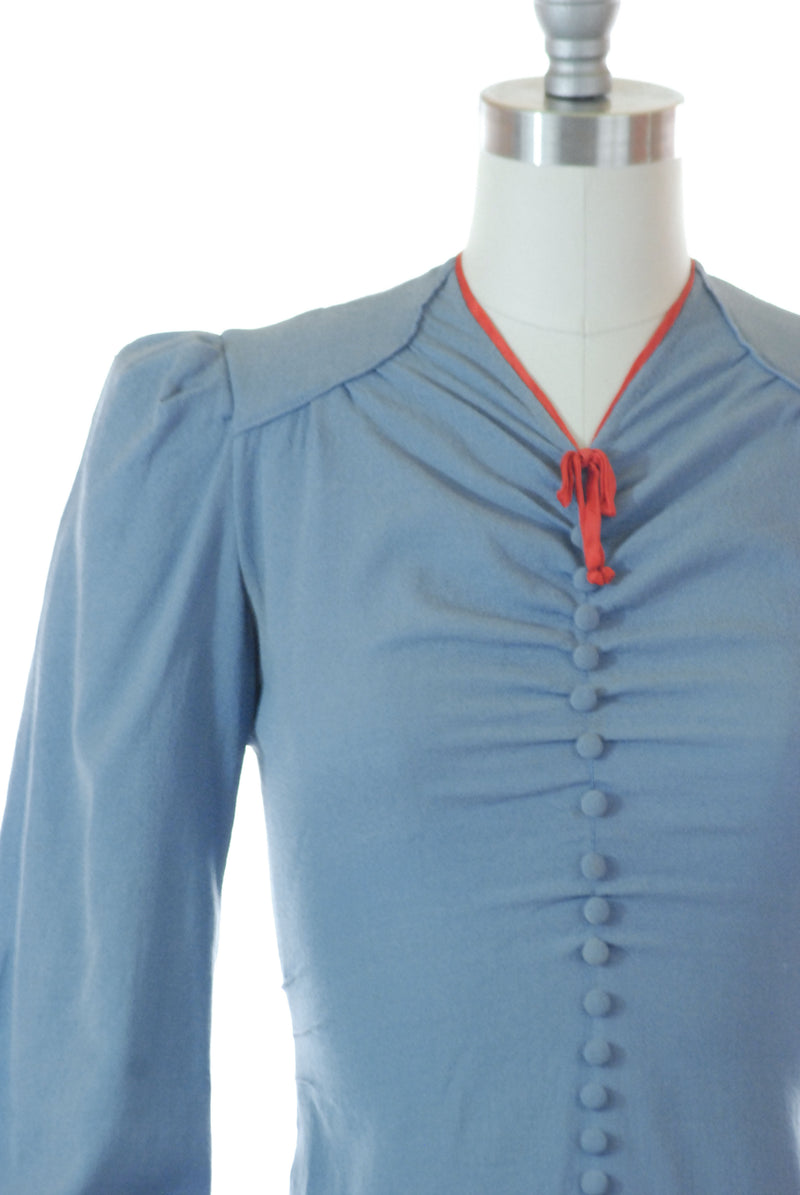 Gorgeous Late 1930s Cornflower Blue Wool Day Dress with Red Trim, As Is