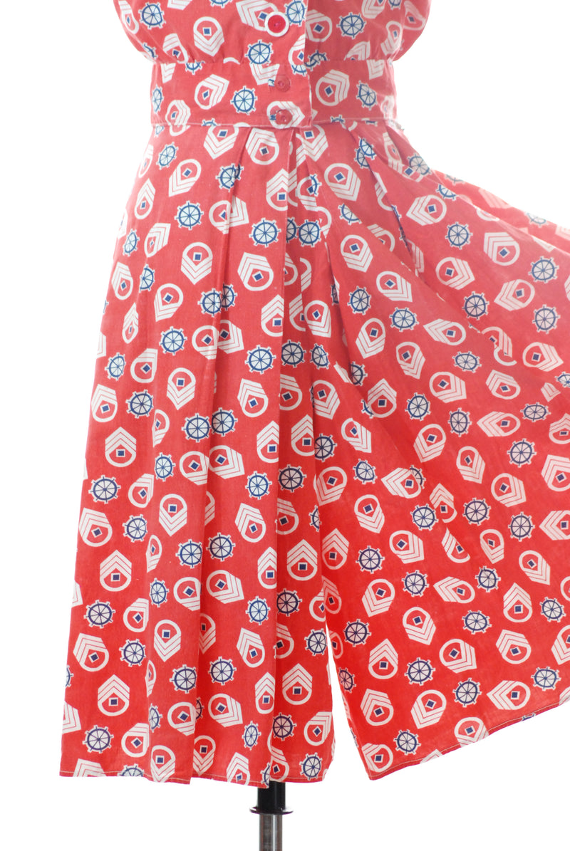 Fun 1940s Novelty Nautical Print Culotte Set with Blouse AS IS