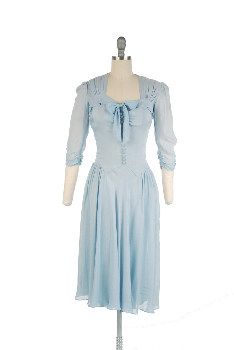 Vintage 1940s Pale Blue Dress with Sheer Sleeves and Skirt