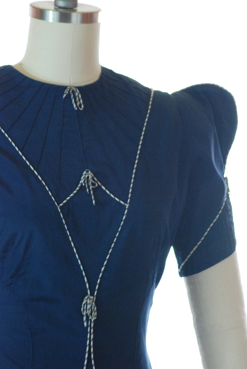 Charming Nautical Inspired Late 30s Polished Cotton Day Dress with Spectacular Puffed Sleeves