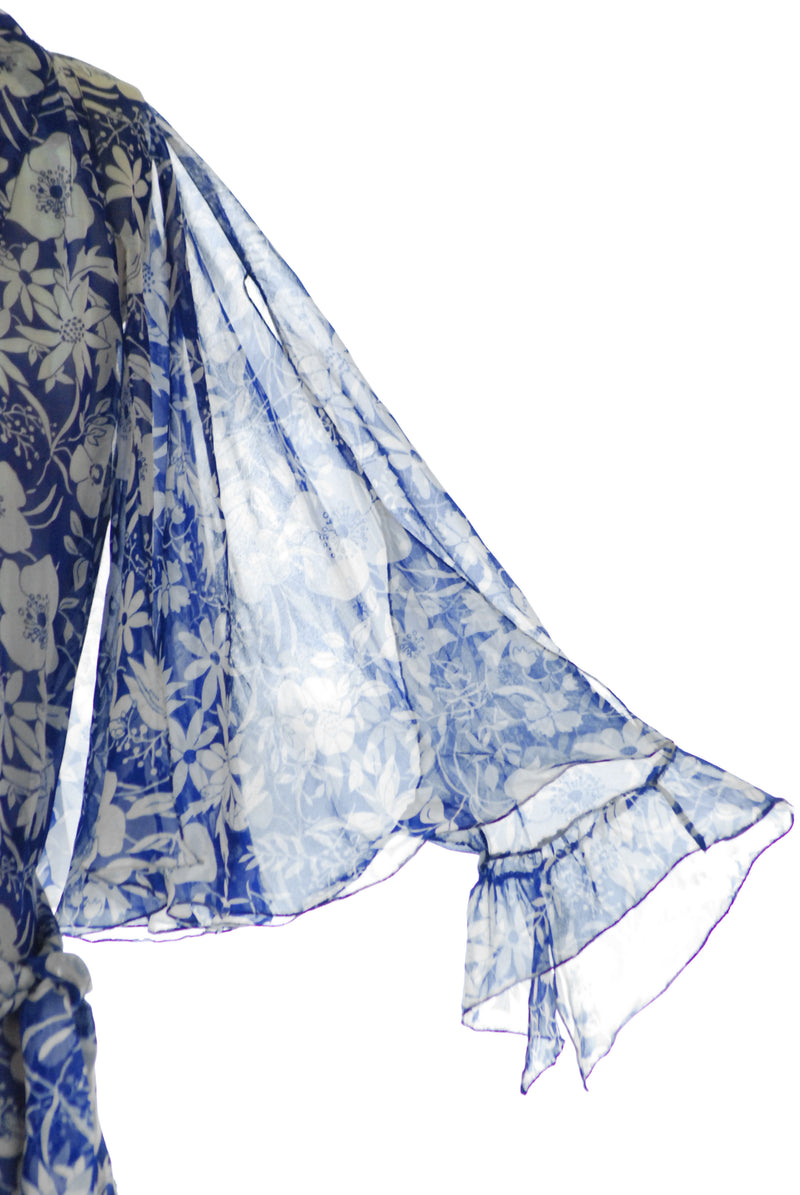 Ethereal 1930s Cobalt Blue Floral Silk Chiffon Gown with Capelet