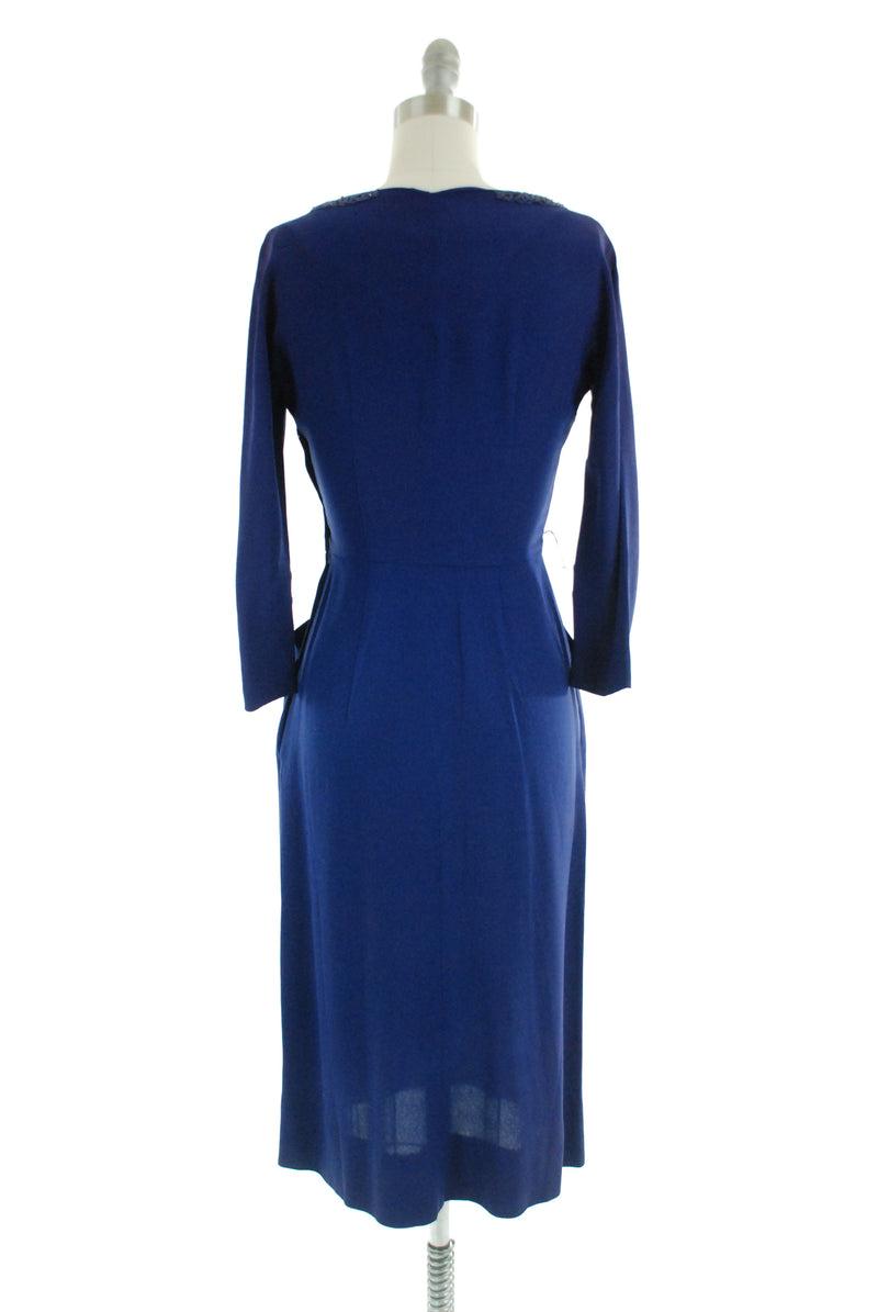 Gorgeous 1950s Blue-Violet Rayon Crepe Early 50s Beaded Cocktail Dress As Is