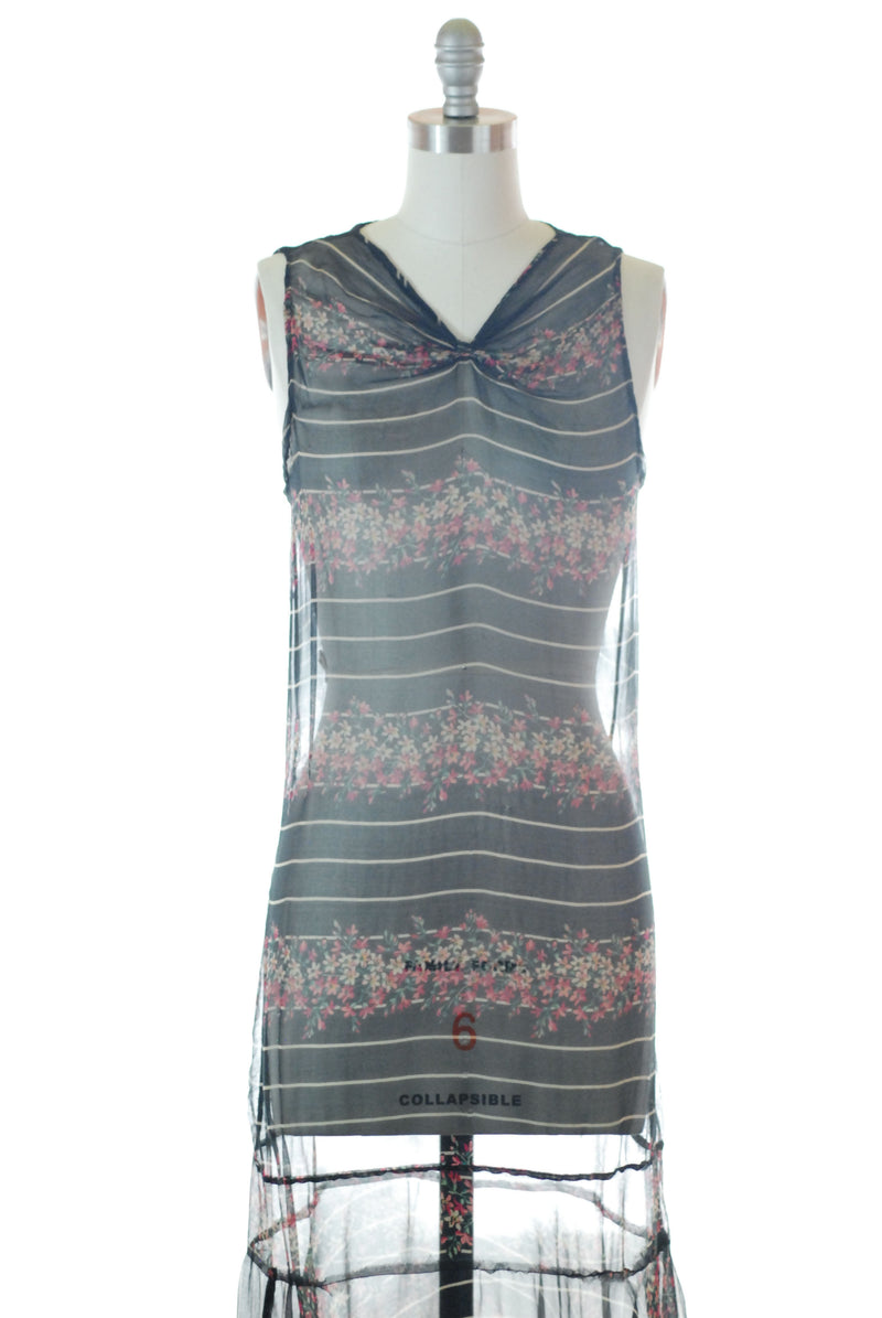 Daring 1930s Floral and Striped Silk Chiffon Dress with Gathered Neckline