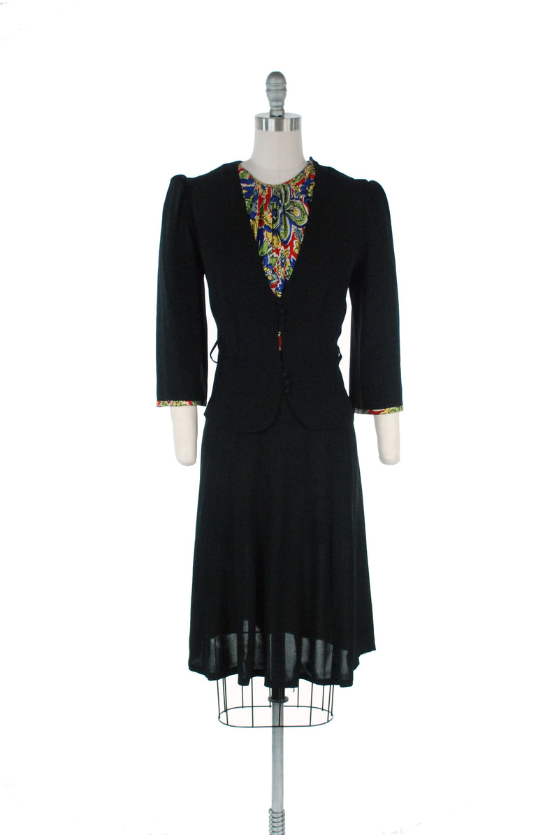"Vintage Late 30s Day Dress with ""Suit"" Style and Built in Jersey Dickie"