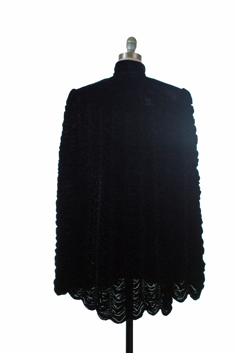 Magnificnet 1930s Gothic Style Heavily Shirred Silk Velvet Black Cape