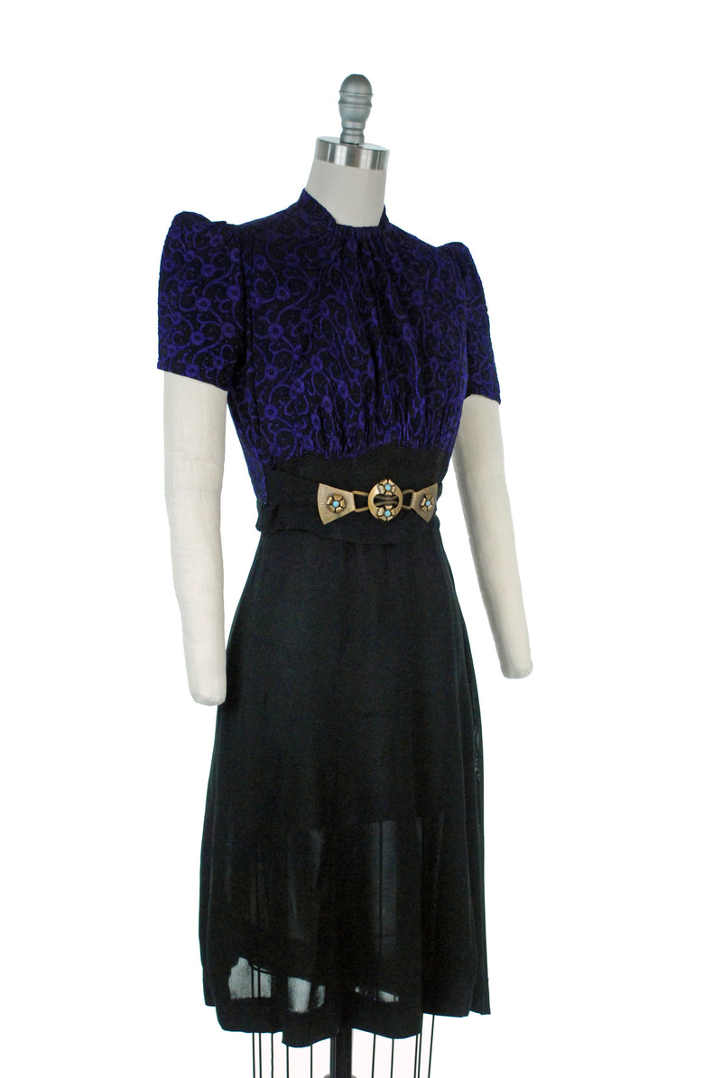 Fantastic Late 1930s Puffed Sleeve, Peaked Shoulder Cocktail Dress