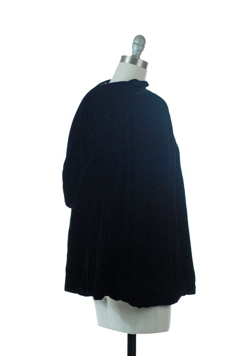 Gorgeous 1940s Hooded Velvet Emma Domb Party Lines Jacket