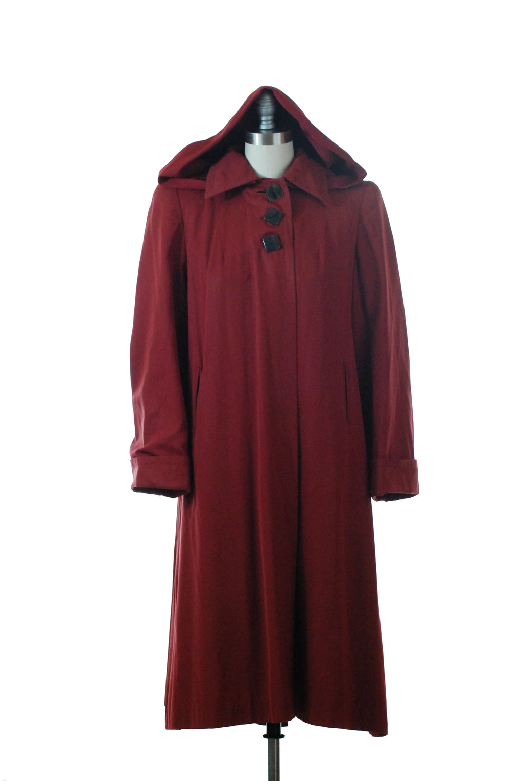 Charming 1940s Burgundy gab Swingy Rain Coat with Detachable Hood