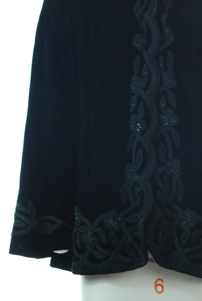 Lush 1940s Evalen Original Black Velvet Swing Coat
