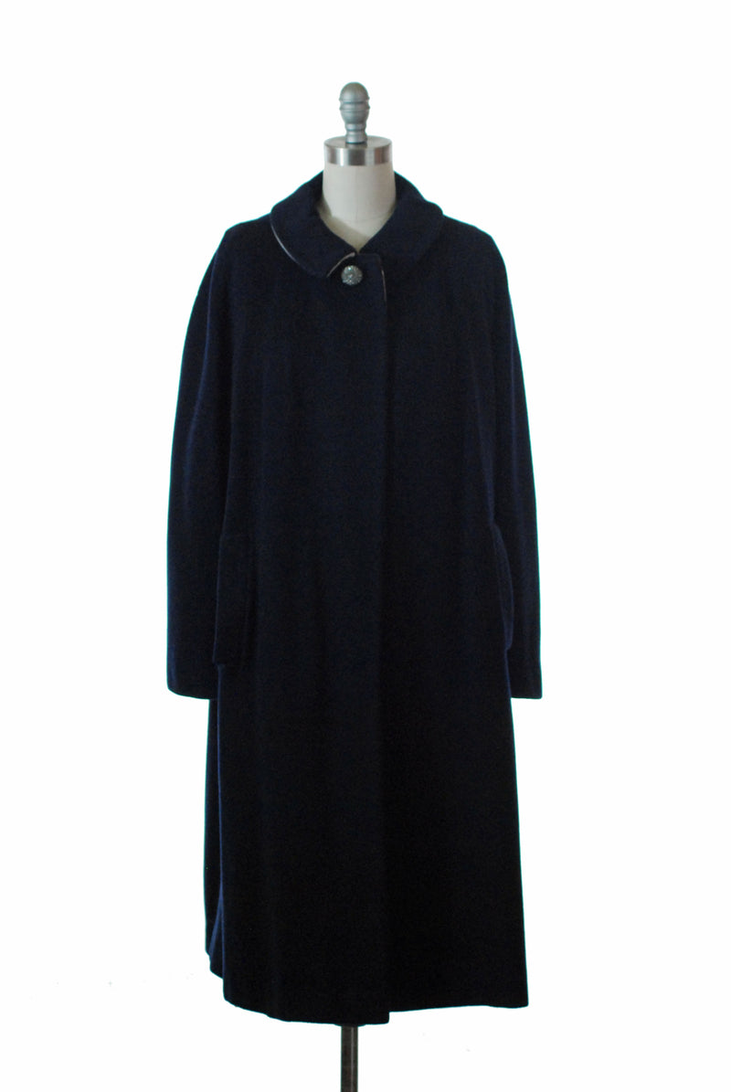 Classic Late 50s or Early 60s Cashmere Coat in Navy with Ivory Interior