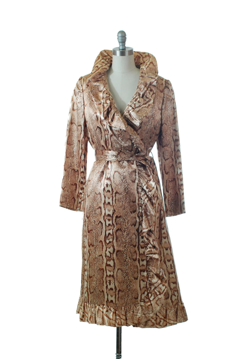 Killer Rare 1970s Satin Snakeskin Printed Wrap Coat with Ruffled Trim, Matching Ties & Gucci Color Ribbon Interior