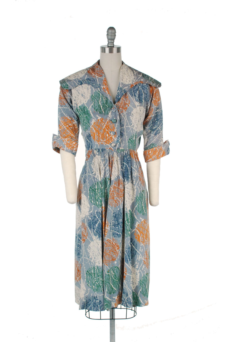 Bold and Unique Post War 1940s Silk Day Dress in Grey with Paint Print