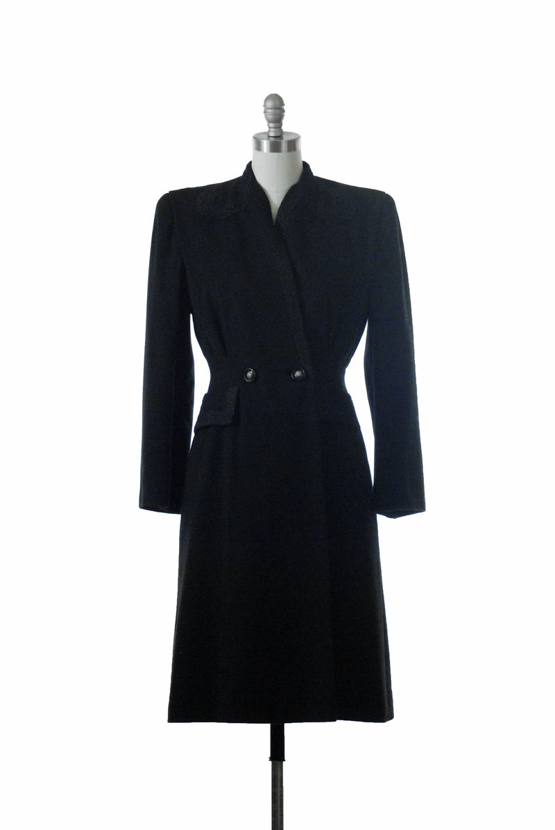 Layaway Installment for Bold 1940s Tailored Black Wool Princess Coat with Soutache Trim
