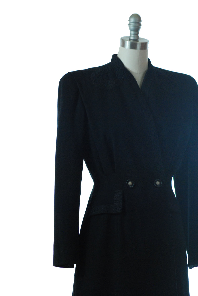 Layaway Deposit for Bold 1940s Tailored Black Wool Princess Coat with Soutache Trim