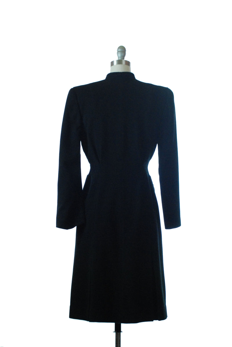 Bold 1940s Tailored Black Wool Princess Coat with Soutache Trim