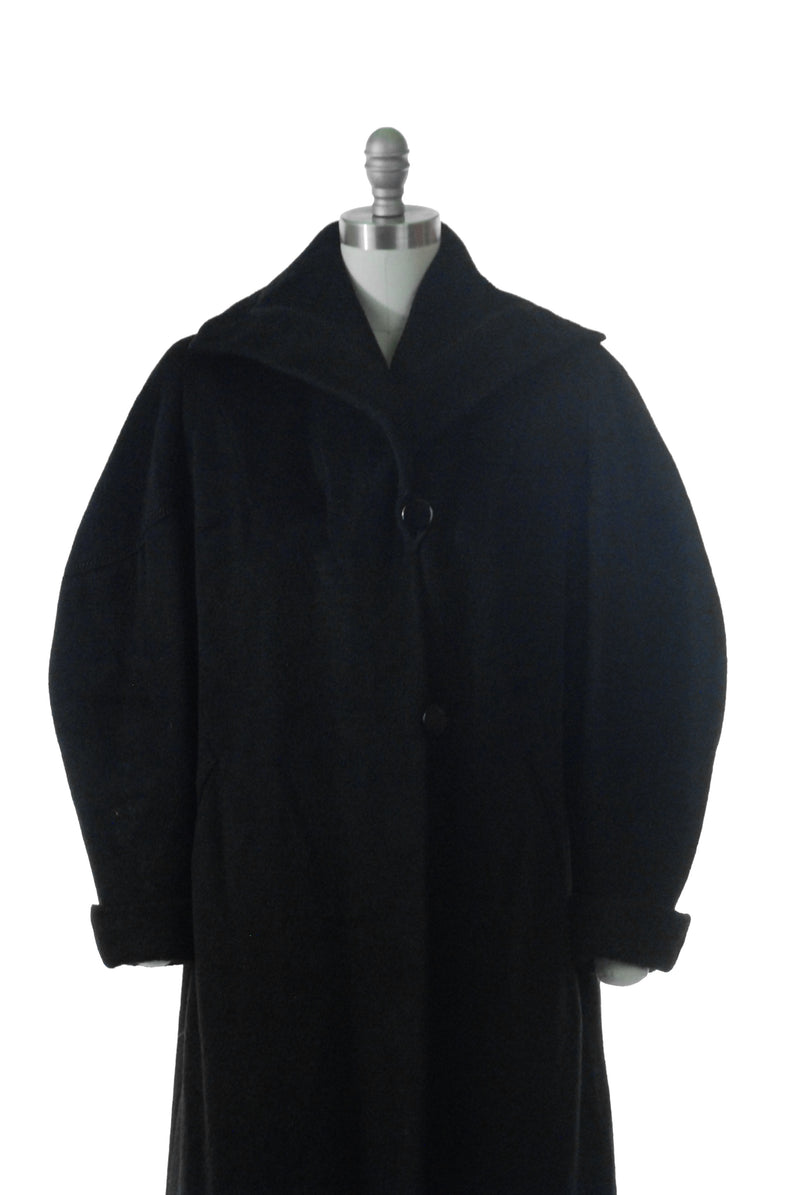 Classic 1950s Black Mohair Wool Coat with Elaborate Sleeves