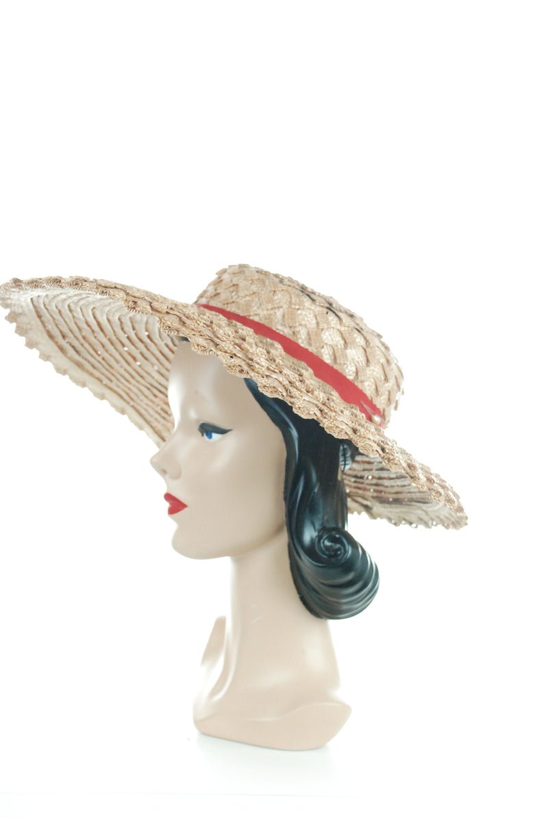 Gorgeous 1940s Heavy Straw Wide Brimmed Sunhat with Cherries New York Creation