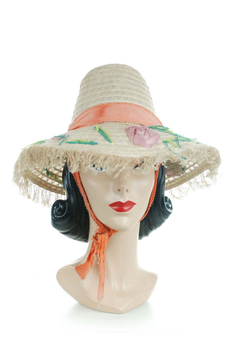 Fun 1950s Tall Crown Synthetic Straw Beach Hat with Yarn and Ribbon Roses