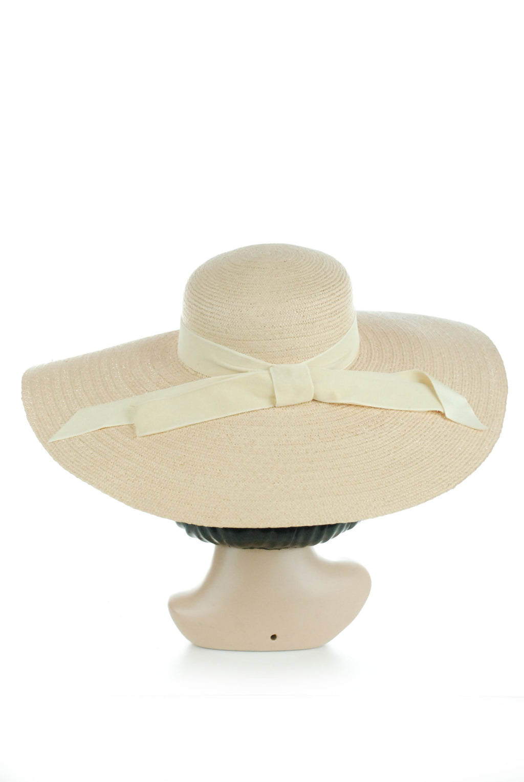 Elegant 1930s Ultra Wide Brimmed Summer Straw Sunhat with Velvet Band
